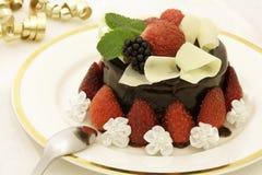 Torta di cioccolato della fragola Fotografie Stock
