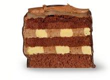 Torta di cioccolato isolata su bianco Fotografie Stock Libere da Diritti