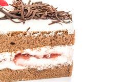 Torta di cioccolato isolata su priorità bassa bianca Fotografia Stock Libera da Diritti