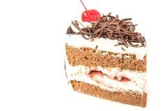 Torta di cioccolato isolata su priorità bassa bianca Fotografie Stock Libere da Diritti
