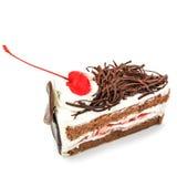 Torta di cioccolato isolata su priorità bassa bianca Immagine Stock Libera da Diritti