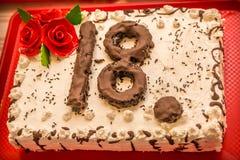 Torta di compleanno 18 Fotografia Stock