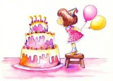 Torta di compleanno. Fotografia Stock