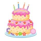 Torta di compleanno Fotografia Stock