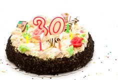 Torta di compleanno 30 anni Fotografie Stock Libere da Diritti