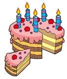 Torta di compleanno affettata fumetto Fotografia Stock