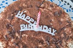 Torta di compleanno, candela, buon compleanno Fotografia Stock