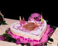 Torta di compleanno con i desideri della mamma di parole Fotografia Stock Libera da Diritti