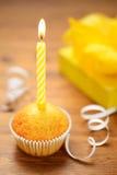 Torta di compleanno con la candela fotografie stock libere da diritti