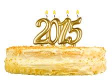 Torta di compleanno con le candele numero 2015 Fotografia Stock Libera da Diritti