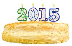 Torta di compleanno con le candele numero 2015 isolata Immagine Stock Libera da Diritti
