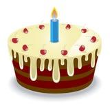 Torta di compleanno con le ciliege Fotografia Stock
