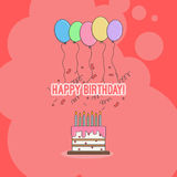 Torta di compleanno con le congratulazioni con il buon compleanno e le candele con i palloni ed i coriandoli colorati luminosi royalty illustrazione gratis