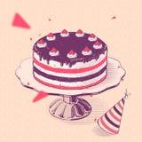 Torta di compleanno con le fragole Immagine Stock