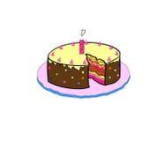torta di compleanno con variopinto con le candele accese Fotografia Stock Libera da Diritti