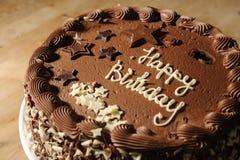 Torta di compleanno del cioccolato Fotografia Stock Libera da Diritti