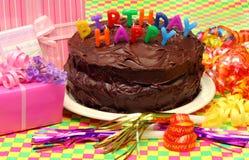Torta di compleanno del cioccolato Immagine Stock Libera da Diritti