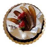 Torta di compleanno del cioccolato della vaniglia, isolata Fotografia Stock