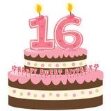 Torta di compleanno del dolce sedici Fotografie Stock Libere da Diritti