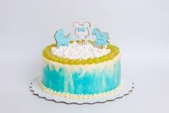 Torta di compleanno del neonato con il pan di zenzero e l'uva Fotografie Stock Libere da Diritti