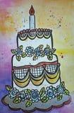 Torta di compleanno dell'illustrazione Immagine Stock