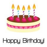 Torta di compleanno della fragola illustrazione di stock