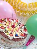 Torta di compleanno di Strowberry Immagini Stock Libere da Diritti