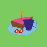 Torta di compleanno e tè Fotografie Stock Libere da Diritti