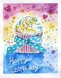 Torta di compleanno felice Fotografie Stock Libere da Diritti