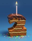 Torta di compleanno a forma di di numero due con la candela Fotografia Stock Libera da Diritti