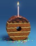 Torta di compleanno a forma di di numero zero con la candela Fotografie Stock Libere da Diritti