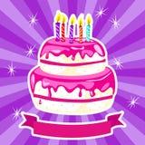 Torta di compleanno nel rosa illustrazione vettoriale