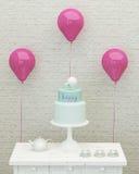 Torta di compleanno, palloni e presente per la ragazza 3d Fotografie Stock Libere da Diritti