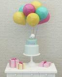 Torta di compleanno, palloni variopinti e presente 3d Fotografia Stock Libera da Diritti