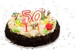 Torta di compleanno per 50 anni di giubileo Immagine Stock Libera da Diritti