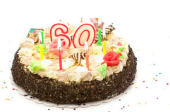 Torta di compleanno per 60 anni di giubileo Fotografia Stock Libera da Diritti
