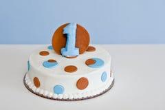Torta di compleanno per il bambino d'un anno Fotografia Stock Libera da Diritti
