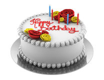 Torta di compleanno rotonda con le candele isolate su bianco Fotografia Stock