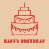 Torta di compleanno saporita Immagine Stock