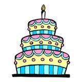 Torta di compleanno variopinta Fotografia Stock