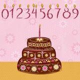 Torta di festa del cioccolato, illustrazione Fotografia Stock
