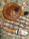 Torta di formaggio casalinga del cioccolato Fotografie Stock