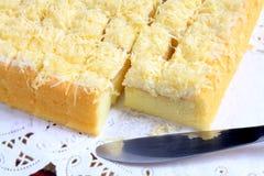 Torta di formaggio con la lama Fotografie Stock