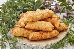 Torta di formaggio con le salsiccie fotografia stock libera da diritti