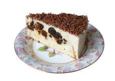 Torta di formaggio del cottage con le prugne ed il cioccolato Fotografia Stock Libera da Diritti