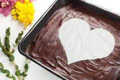 Torta di formaggio del cuore del cioccolato Immagini Stock