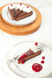 Torta di formaggio del lampone del cioccolato Fotografia Stock