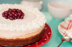 Torta di formaggio delicata con i mirtilli rossi, panna montata Fotografia Stock Libera da Diritti