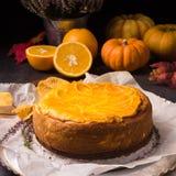 Torta di formaggio della zucca Fotografie Stock Libere da Diritti