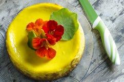 Torta di formaggio della zucca decorata con il coltello Fotografia Stock Libera da Diritti